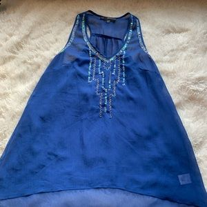 Royal Blue Sheer Embroidered Tank Top